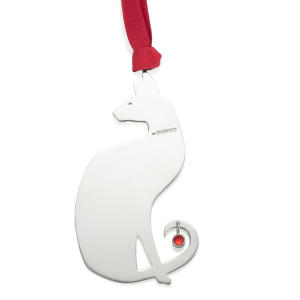 Siamese Cat Sterling Silver Christmas Decoration