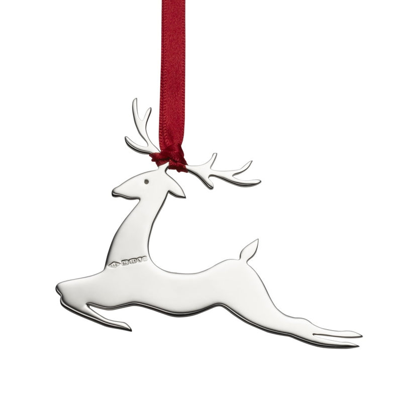Prancer Reindeer Sterling Silver Christmas Decoration