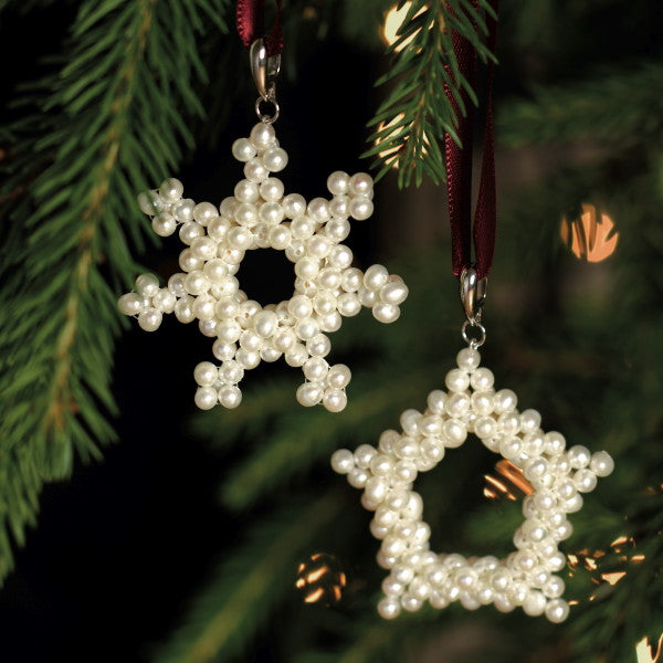 Pair of Pearly Snowflakes Christmas Tree Decorations