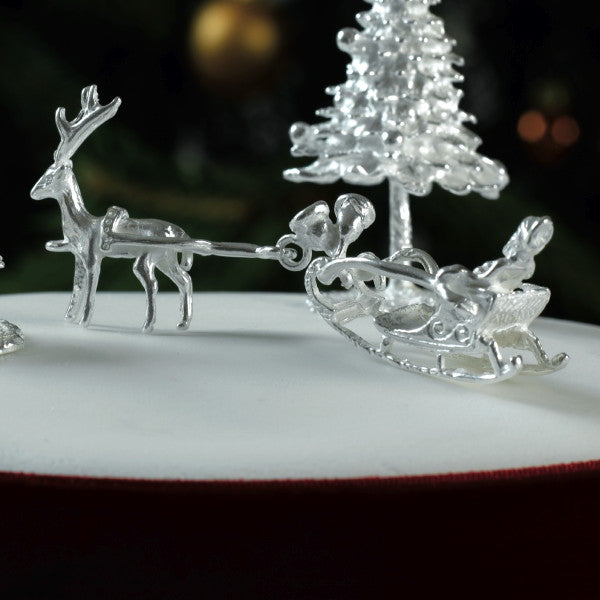 Santa & Sleigh Silver Cake Decoration