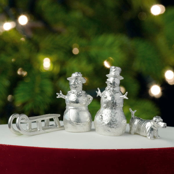 Snowy Snowdog Silver Cake Decoration