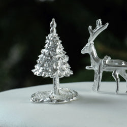 Small Sterling Silver Fir Tree Cake Decoration