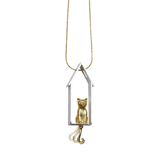 Cat at Home Sterling Silver Pendant