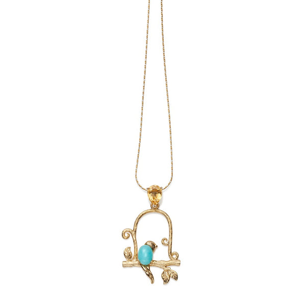 Nightingale Gilded Silver Citrine & Amazonite Pendant