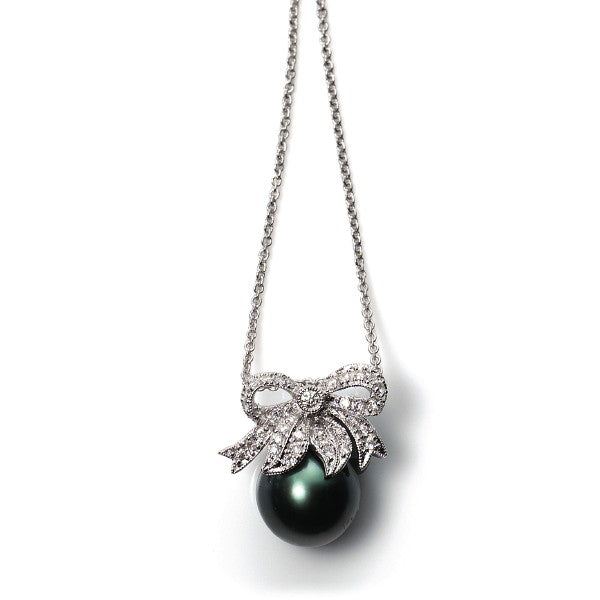 Soiree 18ct Gold Diamond Bow & Black Tahitian Pearl Pendant