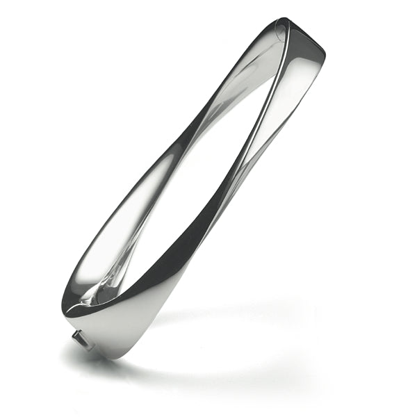 Mobius Sterling Silver Hinged Bangle