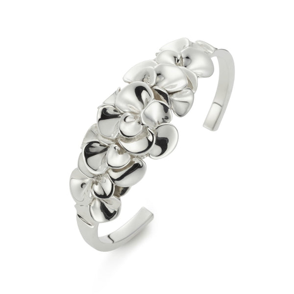 Gardenia Sterling Silver Torc Bangle