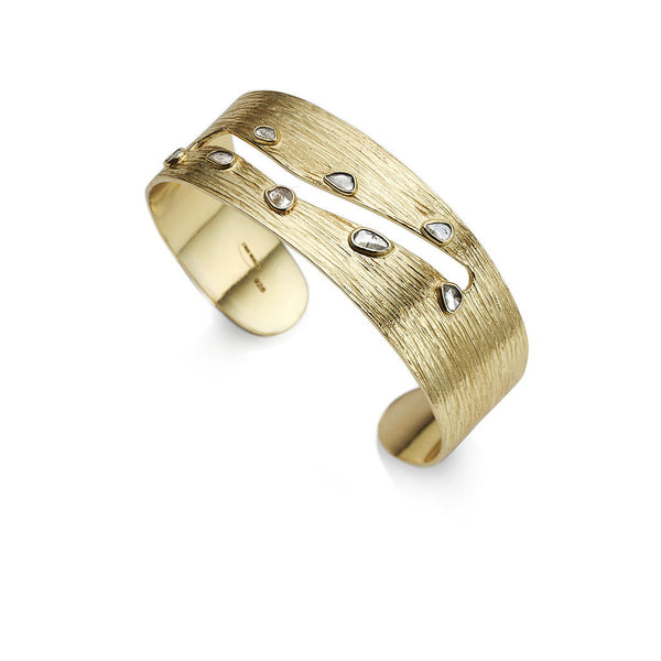 Ormonde Gilded Silver & Diamond Cuff Bangle