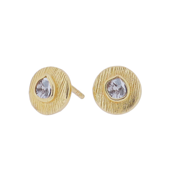 Ormonde Gilded Silver & Diamond Stud Earrings (circular)