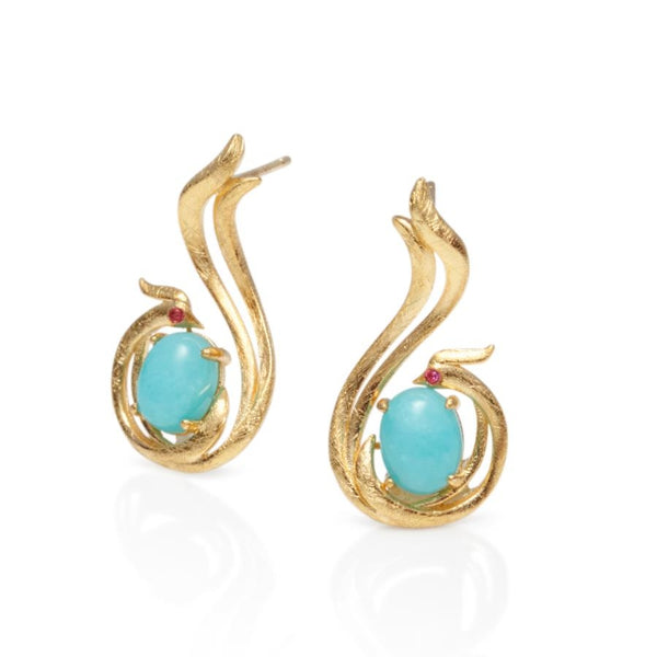 Paradise Gilded Amazonite & Ruby Earrings