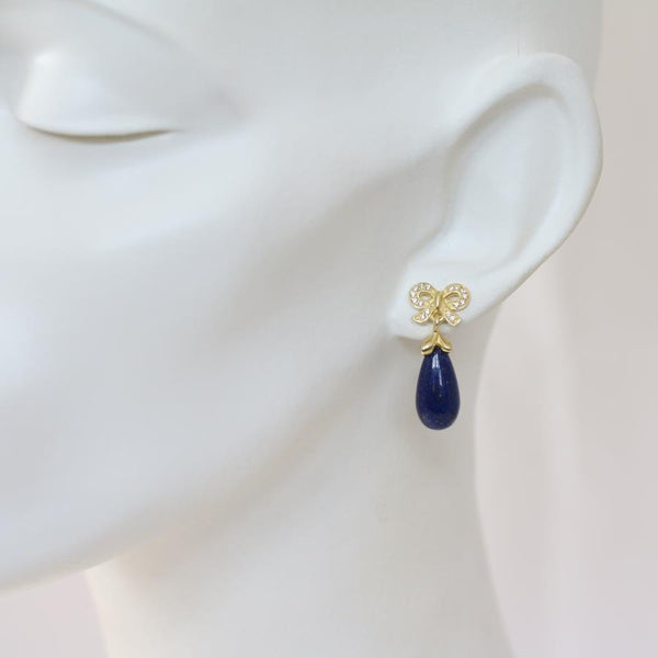Bella Lapis Lazuli & CZ Bow Earrings
