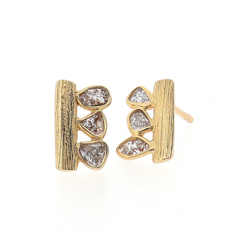 Ormonde Gilded Silver & Diamond Earrings (oblong)
