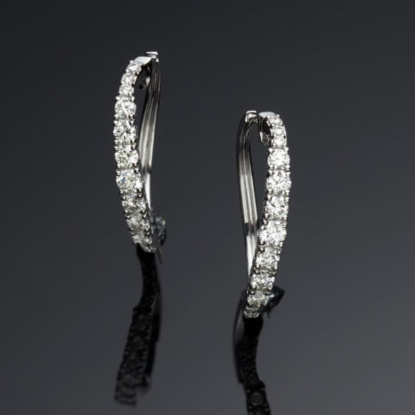 Whisper Diamond 18ct White Gold Hoop Earrings FINE & RARE