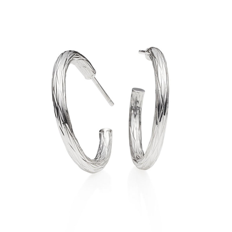 Riviera Silver Hoop Earrings