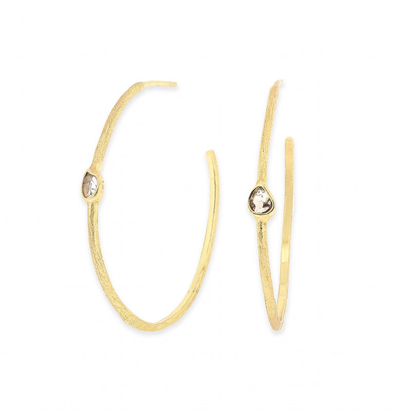Ormonde Gilded Silver & Diamond Hoop Earrings