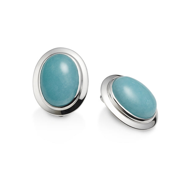 Amazonite Oval Cabochon Clip on Earrings
