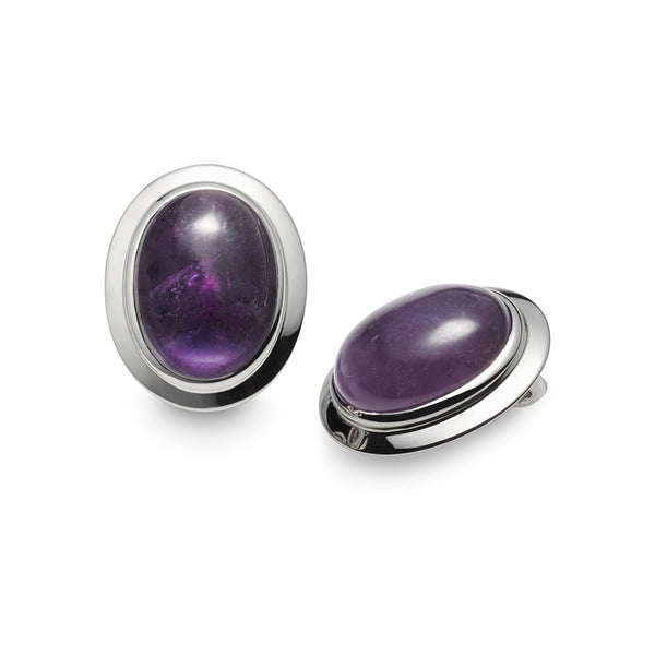 Viola Amethyst Cabochon Clip on Earrings
