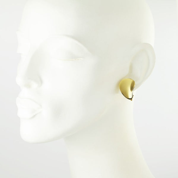Golden Petal Clip on Earrings