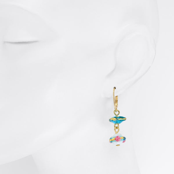 Delphina - Murano Glass Rose Earrings