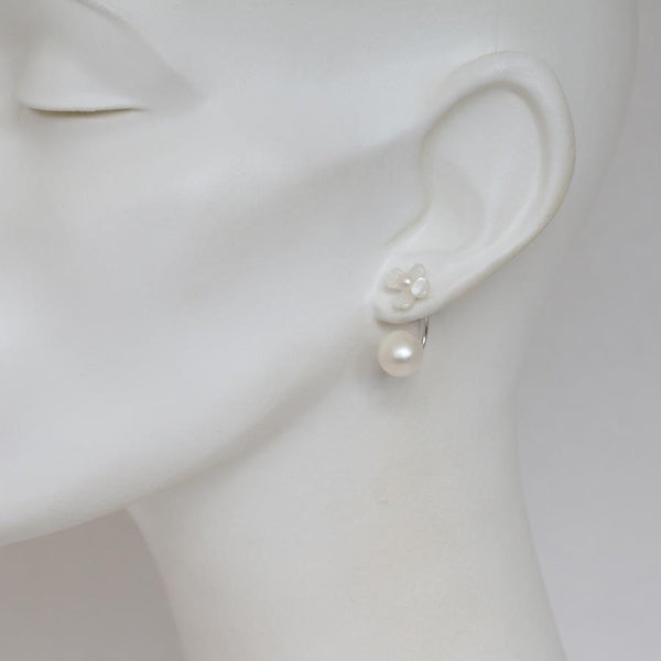 Lucie White Carved MOP & Pearl Earrings