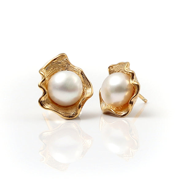 Venus Gilded Silver & Pearl Earrings