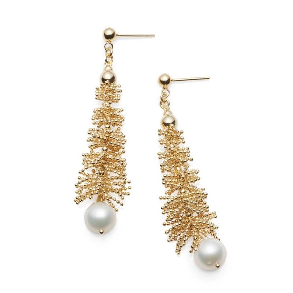 Waterfall Gilded Silver & Pearl Earrings