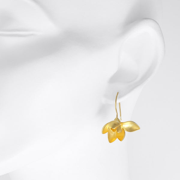 Snowdrop Gilded Silver Flower Earrings