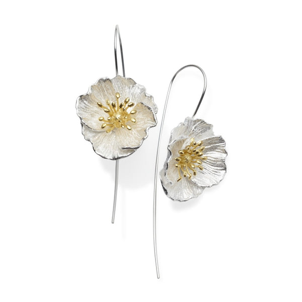 Poppy Sterling Silver Flower Earrings
