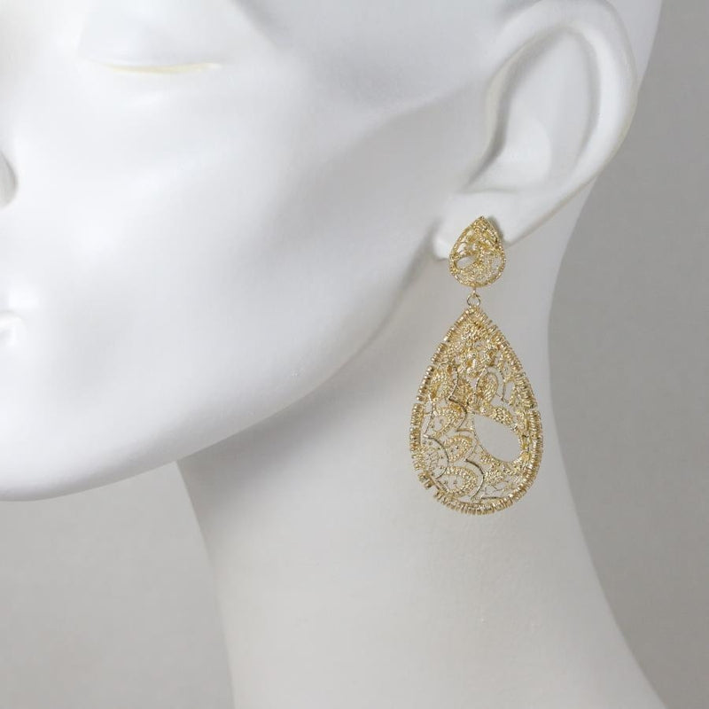 Grace Gilded Silver Lace Earrings