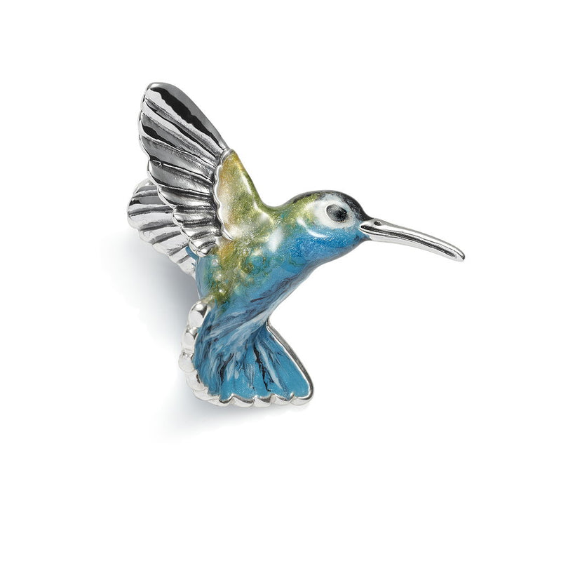 Hummingbird Enamel on Silver Brooch