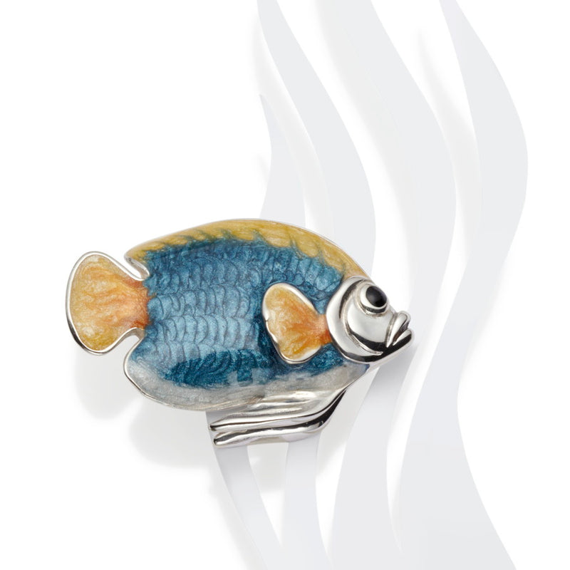 Angel Fish Enamel & Silver Brooch CLEARANCE save £40