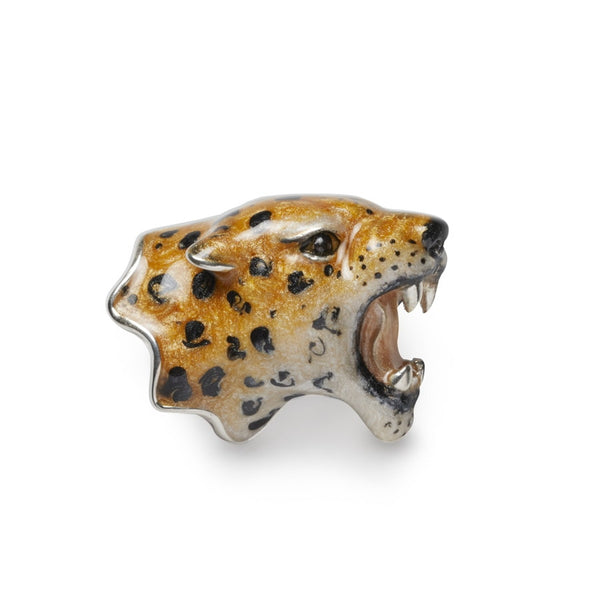 Leopard Enamel on Sterling Silver Brooch