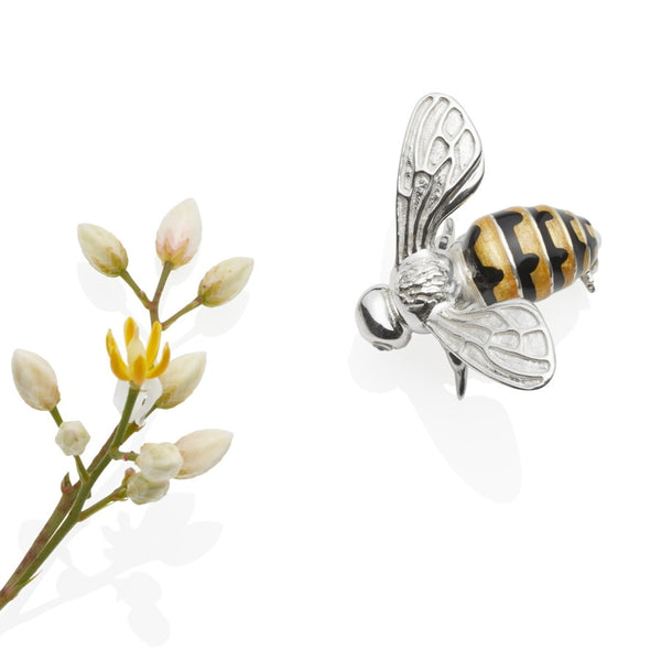 Enamel & Sterling Silver Bee Brooch