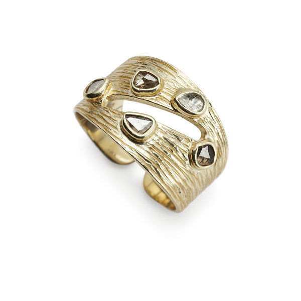 Ormonde Gilded Silver & Diamond Adjustable Ring