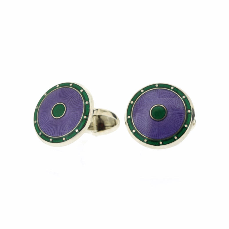 Purple Enamel on Sterling Silver Cufflinks