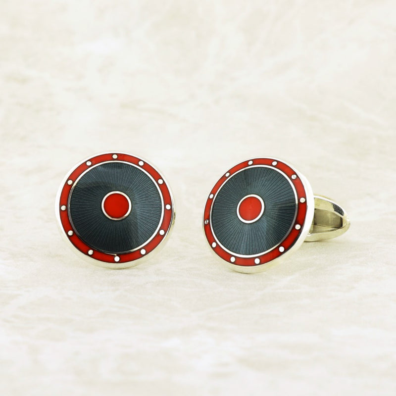 Graphite & Orange Enamel on Sterling Silver Cufflinks