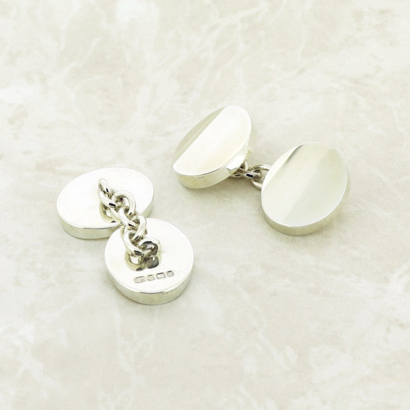 Chunky Silver Double Oval Cufflinks
