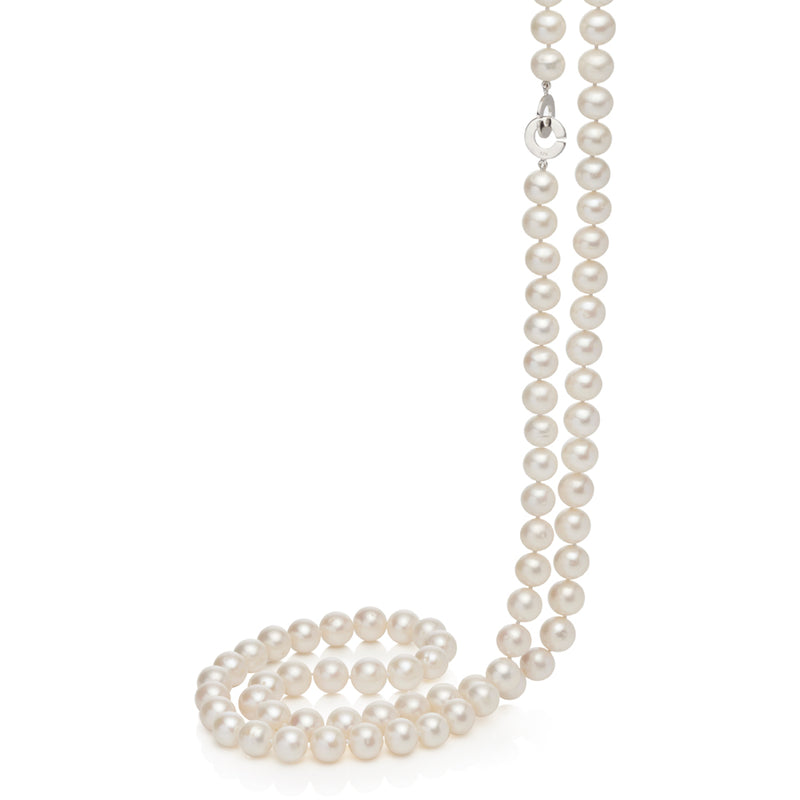 Columbine Opera Length 10mm Pearl Necklace 90cm