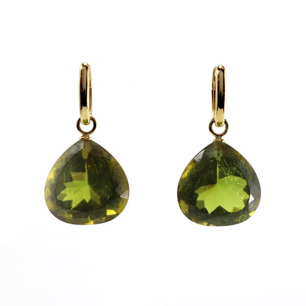 Green Amber & 18ct Gold  Earrings FINE & RARE