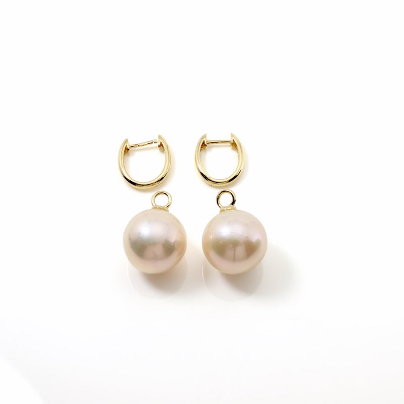 15mm Edison Pearl 18ct Gold Earrings FINE & RARE