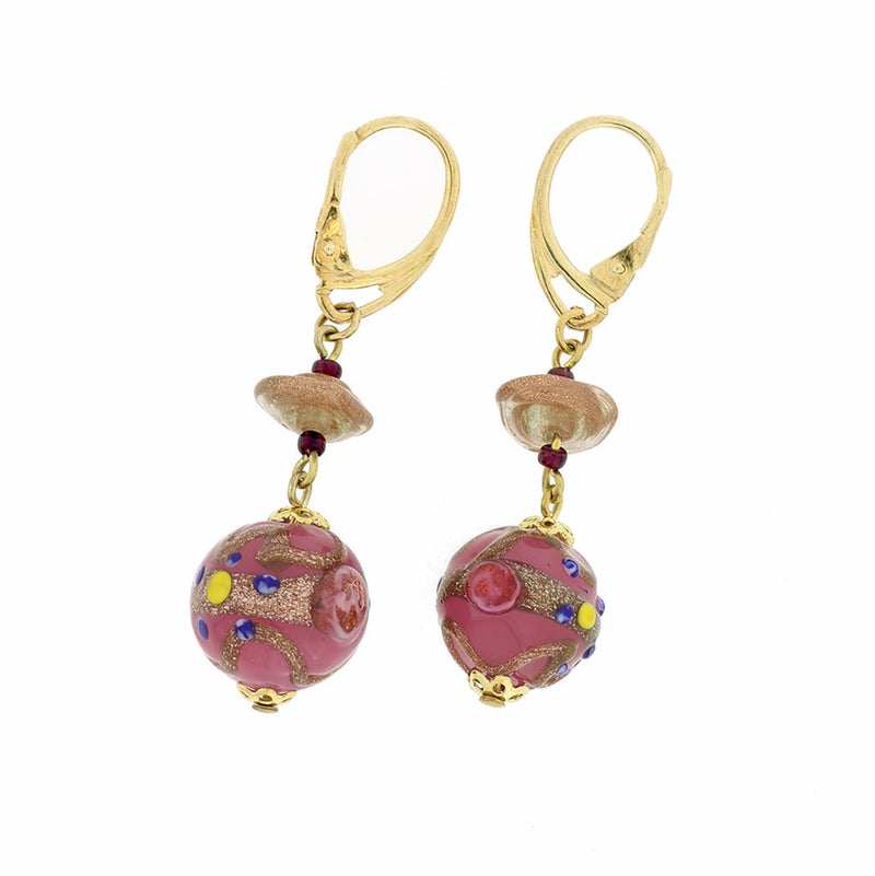 E89 Pink Murano Glass Earrings SAMPLE