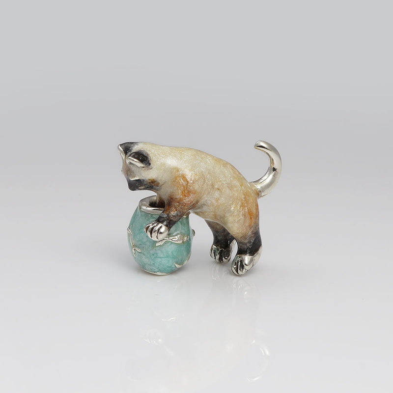 Dipper Sterling Silver & Enamel Cat at Goldfish