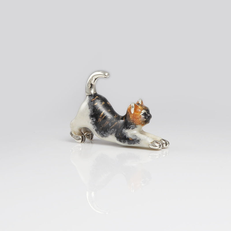 Wicked Sterling Silver & Enamel Cat Stretching