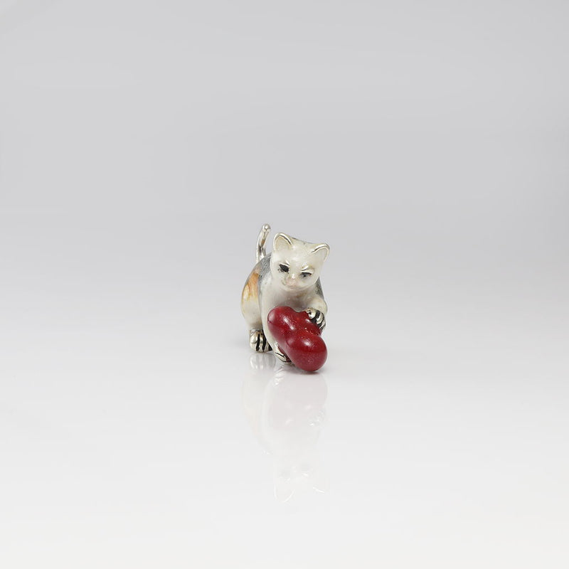 Catanova Sterling Silver & Enamel Cat with Heart
