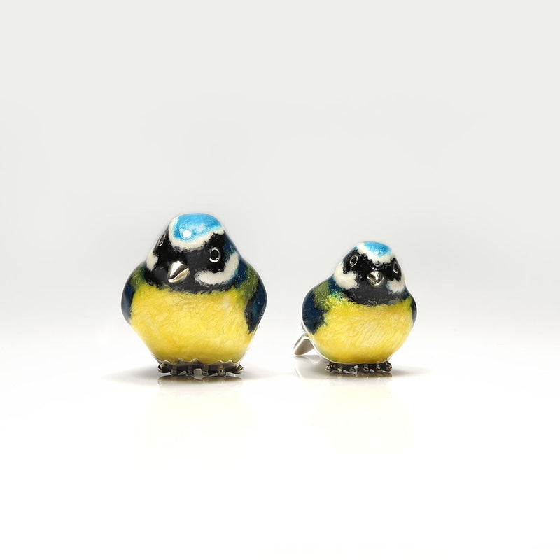 Pair Bluetits Sterling Silver & Enamel