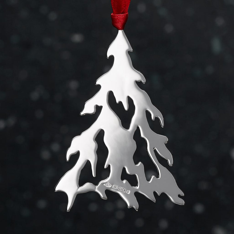 Snowy Pine Sterling Silver Christmas Decoration