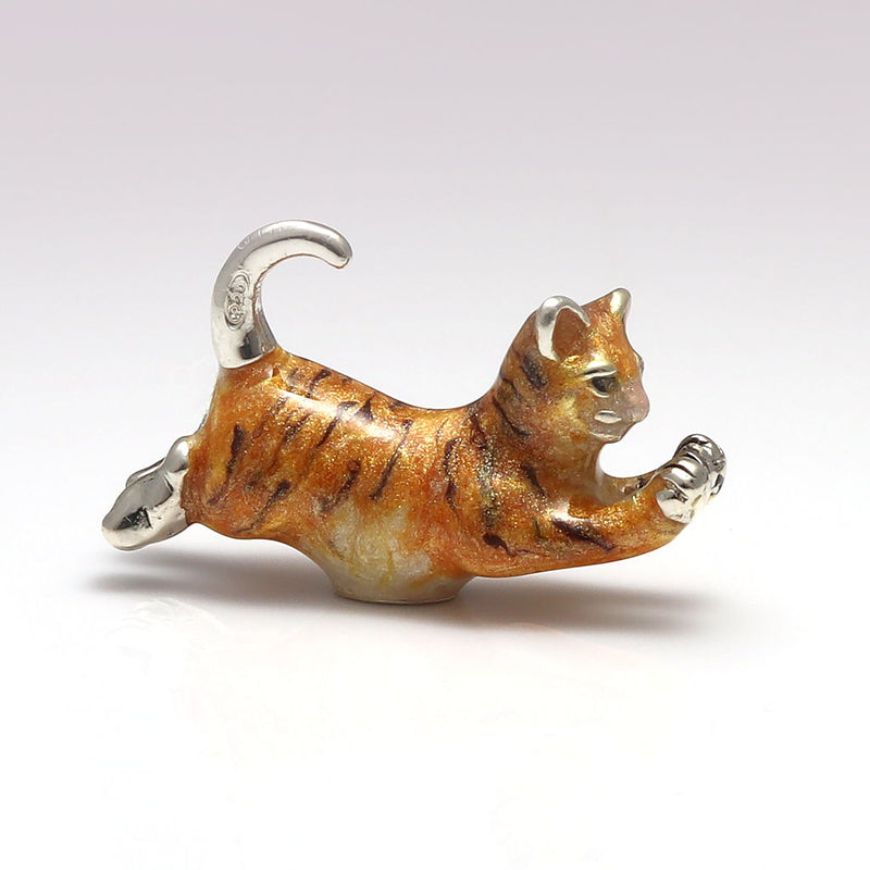 Ginger Sterling Silver & Enamel Pouncing Marmalade Cat