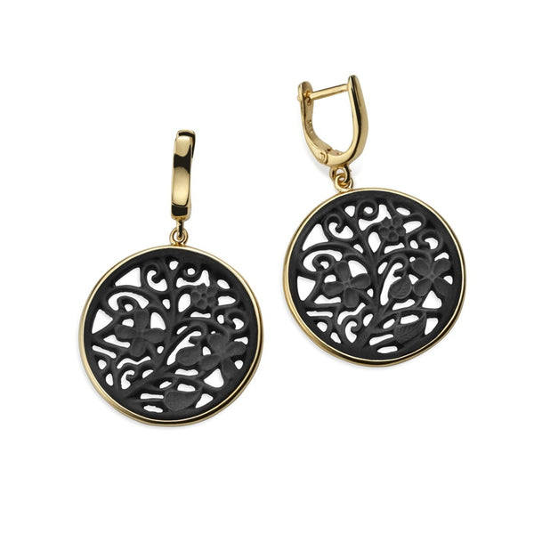Alhambra Black Agate Earrings