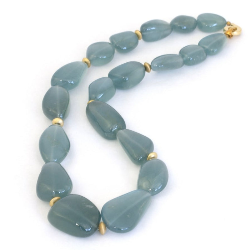 Natural Silky Aquamarine Nugget 18ct Gold Necklace FINE & RARE