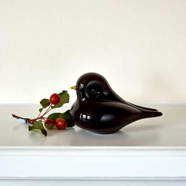 Blackbird English Art Glass Paperweight